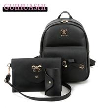 3 шт./компл. женщины рюкзак для девочек-подростков школьные сумки рюкзак back pack искусственная кожа рюкзак для женщин сумки на ремне
