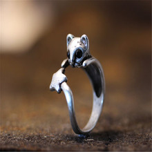 CHENGXUN Retro Animal Ancient Rings Cute Dog Cat Realistic Wrap Rings Punk Handmade 3D Boho Chic Jewelry for Baby Kids Gift