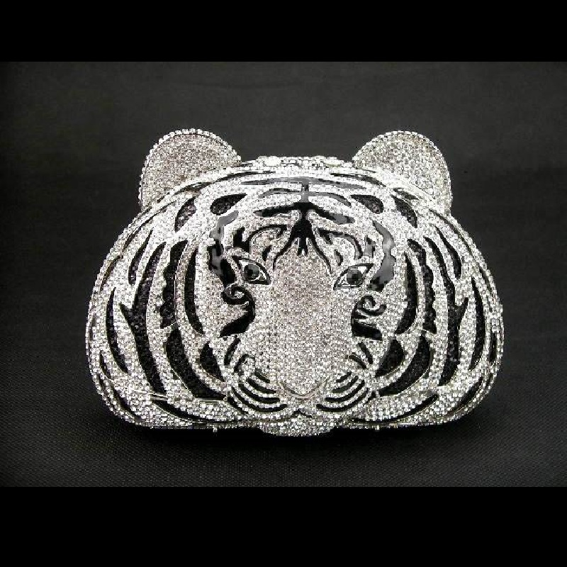 ФОТО silver crystal TIGER head animal Wedding Bridal Party Night hollow Metal Evening purse clutch bag case box handbag