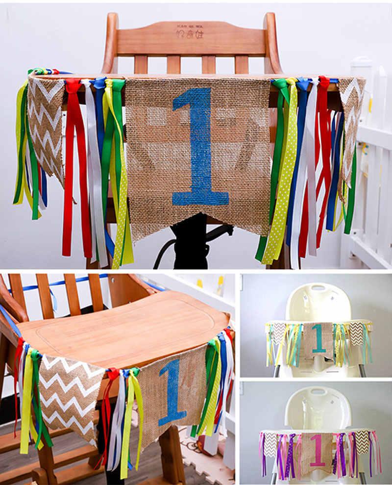 Venda quente Meninos/Meninas Fitas Serapilheira Cadeiras De Jantar Bandeira Bandeiras Bandeiras Bunting Bandeira Decorações Do Partido DIY Decoração