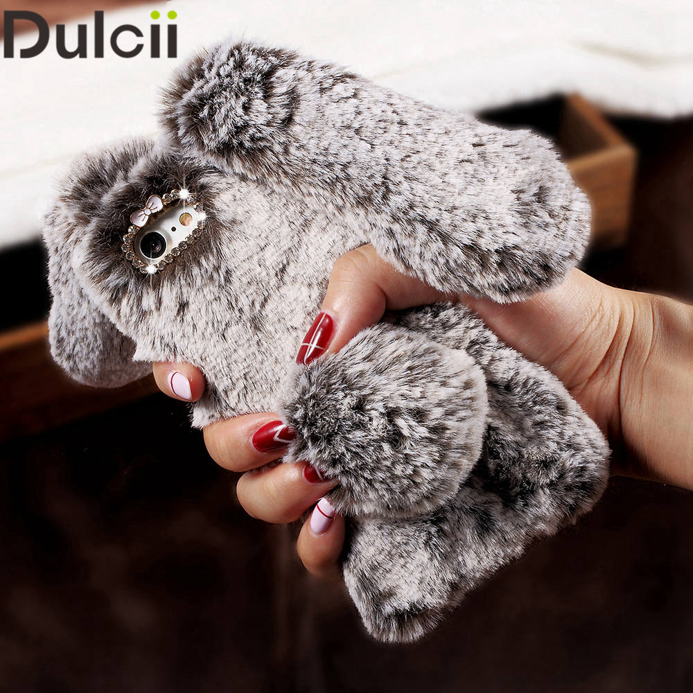 Dulcii For iPhone 5s 6 7 8 Plus Cover Soft Warm Fur 3D Cute Rabbit Shape Warm Fur Case for iPhone 6S Bag for IP6 IP7 IP5S IP8 ...