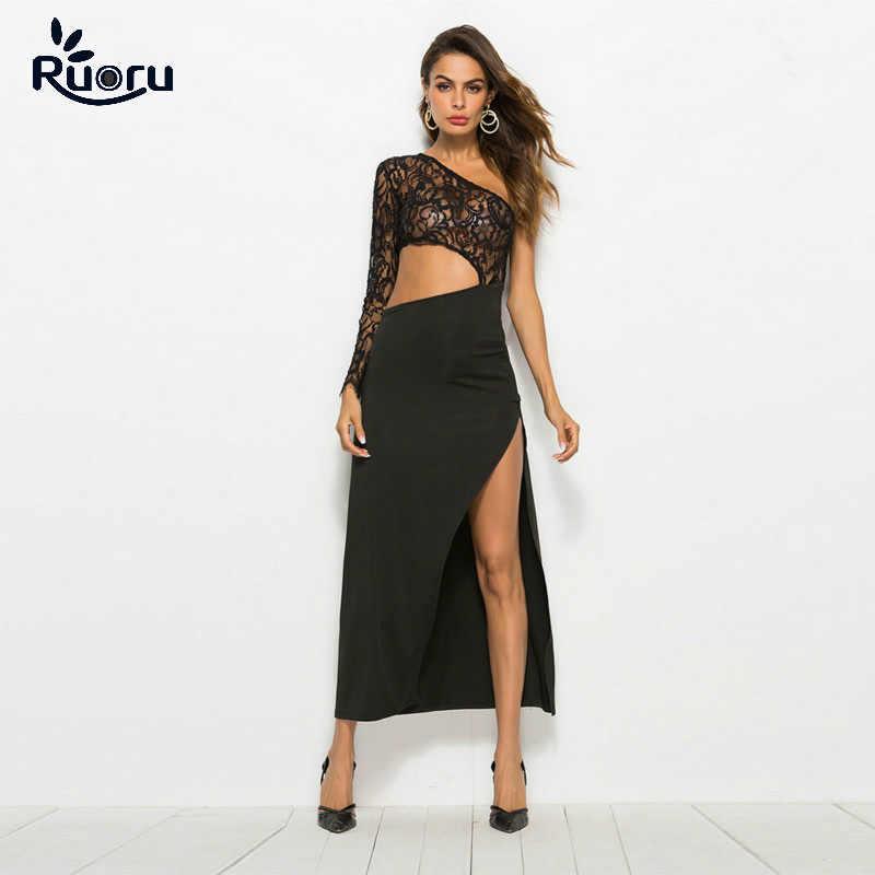 f3869420af Ruoru Sexy Split Lace Long Dress Women Elegant Summer Solid Black Color One  Shoulder Long Dresses Form Party Vestido De Festa