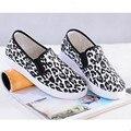 Женщины Повседневная Slip-на Холст Обувь Новый Мокасины Мода Leopard и Полосатые Обувь Breatable Школа Вождения Плоские Туфли