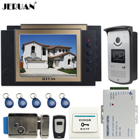JERUAN 8`` TFT video door phone Record intercom system Kit 2 monitors RFID access Camera 8GB SD CARD + Exit butto+Electric Lock