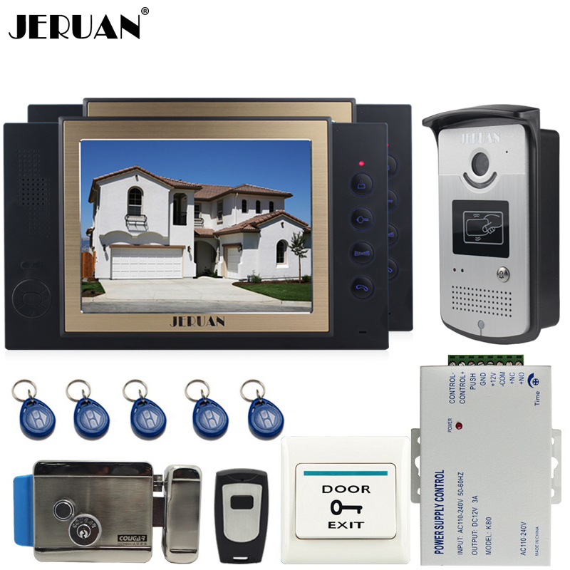 JERUAN 8`` TFT video door phone Record intercom system Kit 2 monitors RFID access Camera 8GB SD CARD + Exit butto+Electric Lock jeruan 8 inch tft video door phone record intercom system new rfid waterproof touch key password keypad camera 8g sd card e lock