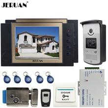 "JERUAN 8"" TFT video door phone Record intercom system Kit 2 monitors RFID access Camera 8GB SD CARD + Exit butto+Electric Lock"