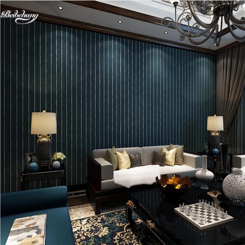 beibehang Modern simple dark blue vertical striped wallpaper bedroom living room television ...