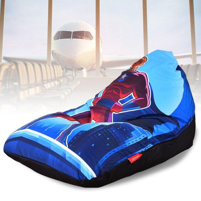 LEVMOON Beanbag Sofa Chair Cartoon Superman Seatzac Comfort Bean Bag Bed Cover Without Filler Cotton Indoor Beanbag Lounge Chair