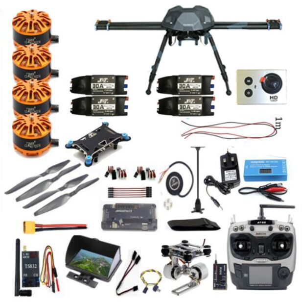 DIY Full Set FPV 2.4GHz 4-Aixs RC Airplane APM2.8 Flight Controller M7N GPS XS690 Frame Props AT9S TX Hexacopter jmt diy fpv flight control set openpiolot cc3d revolution flight controller oplink mini transceiver tx rx m8n gps compass