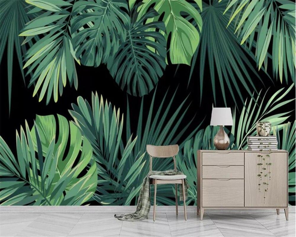 Beibehang Custom wallpaper European retro hand painted tropical rainforest banana leaves living room wall 3d wallpaper behang in Wallpapers from Home Improvement