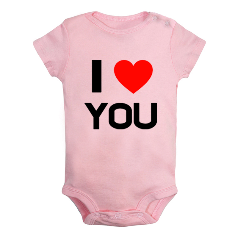 Newborn Baby Girls Bodysuit Short-Sleeve Onesie Birds Love Heart Print Outfit Winter Pajamas