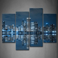 4 Panels Unframed Wall Art Pictures Blue Buildings Chicago Canvas Print Modern City Posters No Frames For Living Room