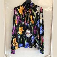 Для женщин шелковая блузка Высокое качество Весна 2018 Блузка с длинными рукавами Для женщин Мода Цветочный принт блузка