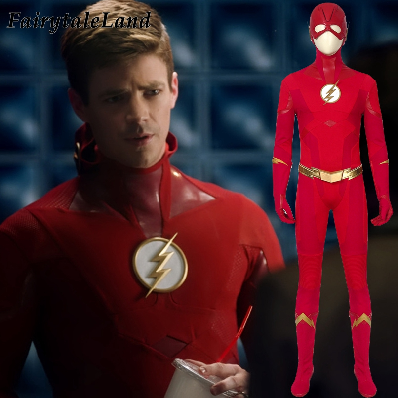 Newest Barry Allen Falsh Costume superhero <font><b>The</b></font> <font><b>Flash</b></font> Season 5 Halloween Men Costumes Adult <font><b>Flash</b></font> <font><b>Cosplay</b></font> Accessories <font><b>Boots</b></font> image