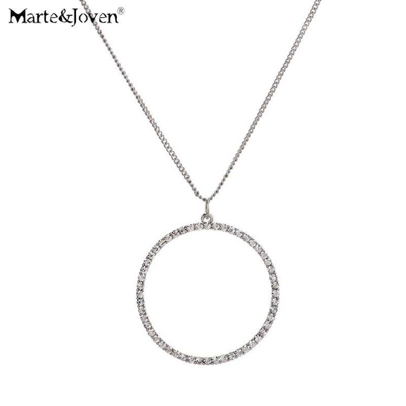 Marte&Joven New Silver Plated Hollow Circle Necklace Round Rhinestone Long necklaces & pendants For Women simple Jewelry