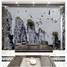 Custom 3d wallpaper artistic conception abstract ink landscape living room background wall painting advanced waterproof material