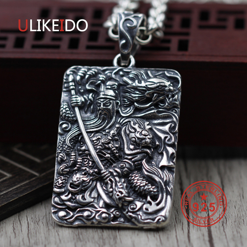 цена Pure 925 Sterling Silver Jewelry Charms Punk Pendants for Men And Women Thai Silver Necklace Chain Fine Gift 1544