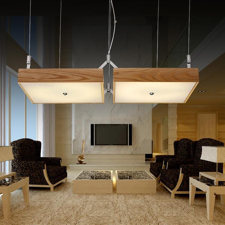 Moderne Holz LED Pendelleuchte Wohnzimmer Lampe Warme Romantisches Schlafzimmer Restaurant Massivholz Pendelleuchten ZL61 YMChina
