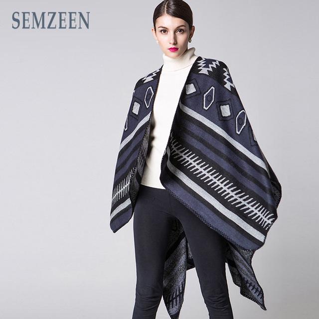 [SEMZEEN] 2016 New Ponchos for Women Cashmere Feel Scarf Cape Winter Poncho A3305