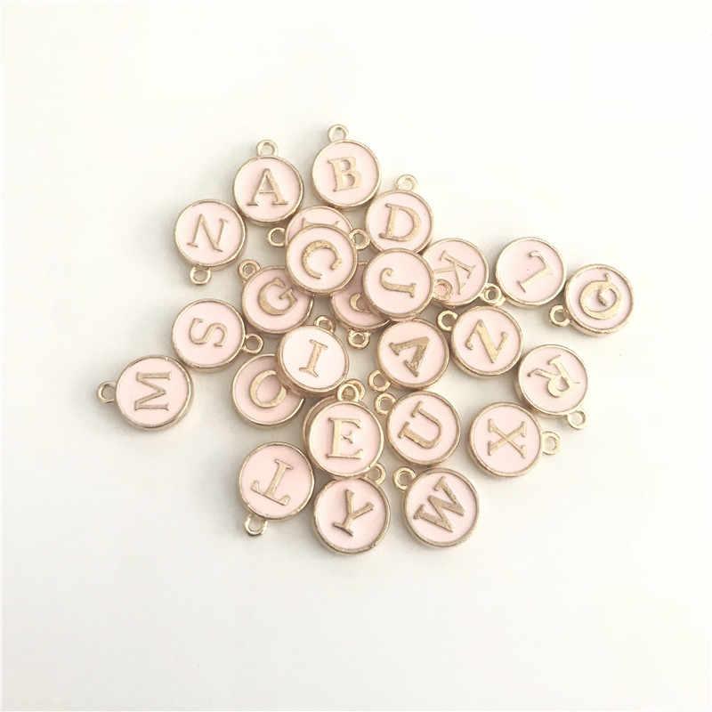 Ouro rosa Esmalte Prata Colar Letra Inicial Pingentes Rosa Branca Pingente de Colar Artesanal DIY Carta Jóias Acessó 5pcs