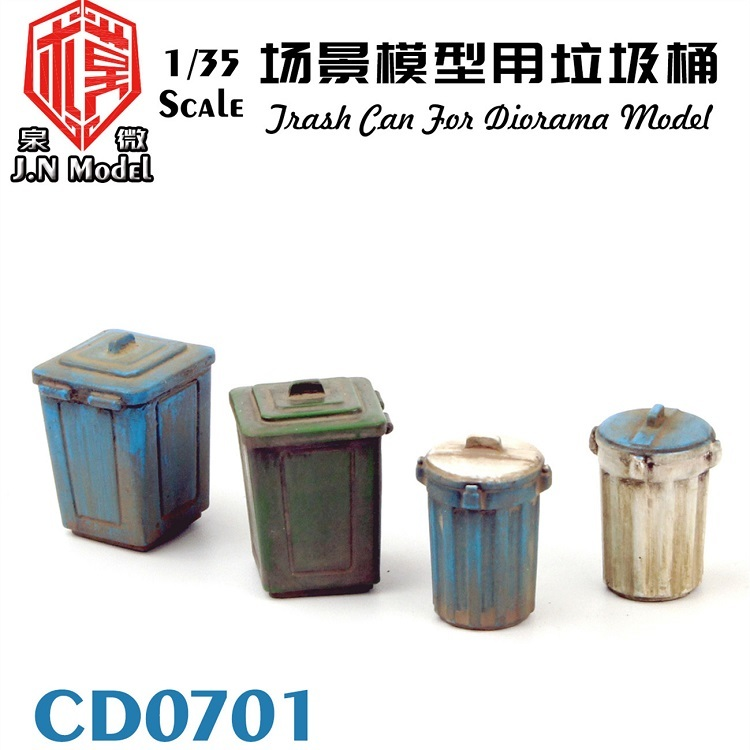 <font><b>1/35</b></font> <font><b>Resin</b></font> Trash Can Scene <font><b>Accessories</b></font> White Mold CD 0701 image