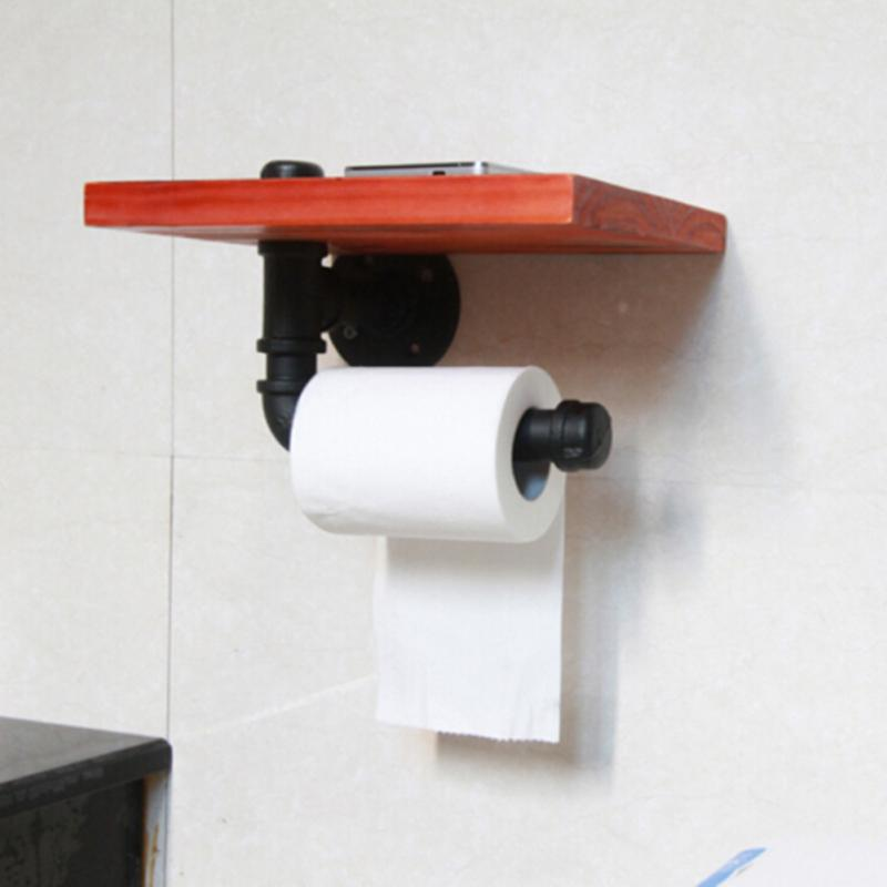 Bathroom Fixtures Urban Industrial Wall Mount Wood Storage Shelf Iron Pipe Toilet Paper Holder Roller Restaurant Restroom Bathroom Decoration Home Improvement
