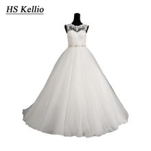 HS Kellio Scoop Neckline Princess Ball Gown Vestido De Novia 2020 Shunning Bodice Wedding Dress