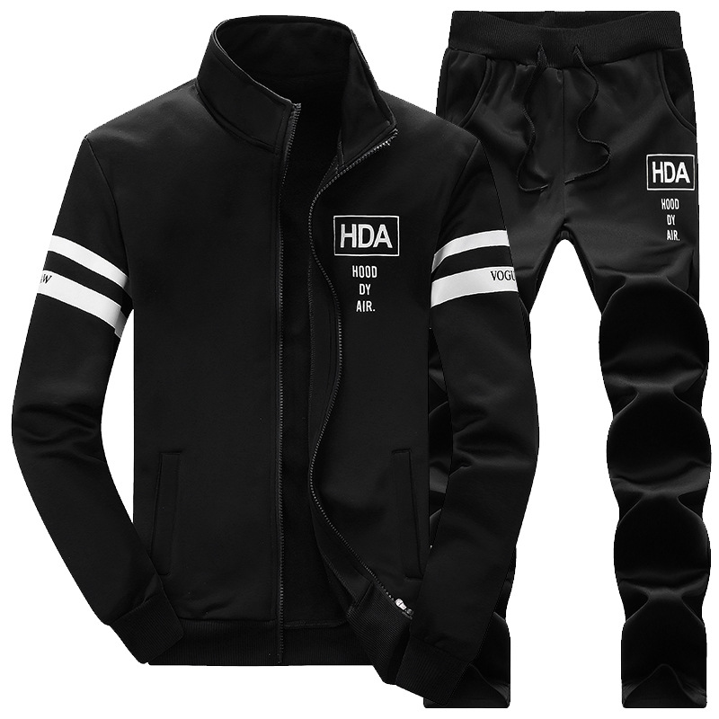 Men Tracksuit Cotton 2019 Gyms Suit Sportswear Two Piece Sets All Fleece Thick Hoodie Trousers High Street Jackets Sets Clothing