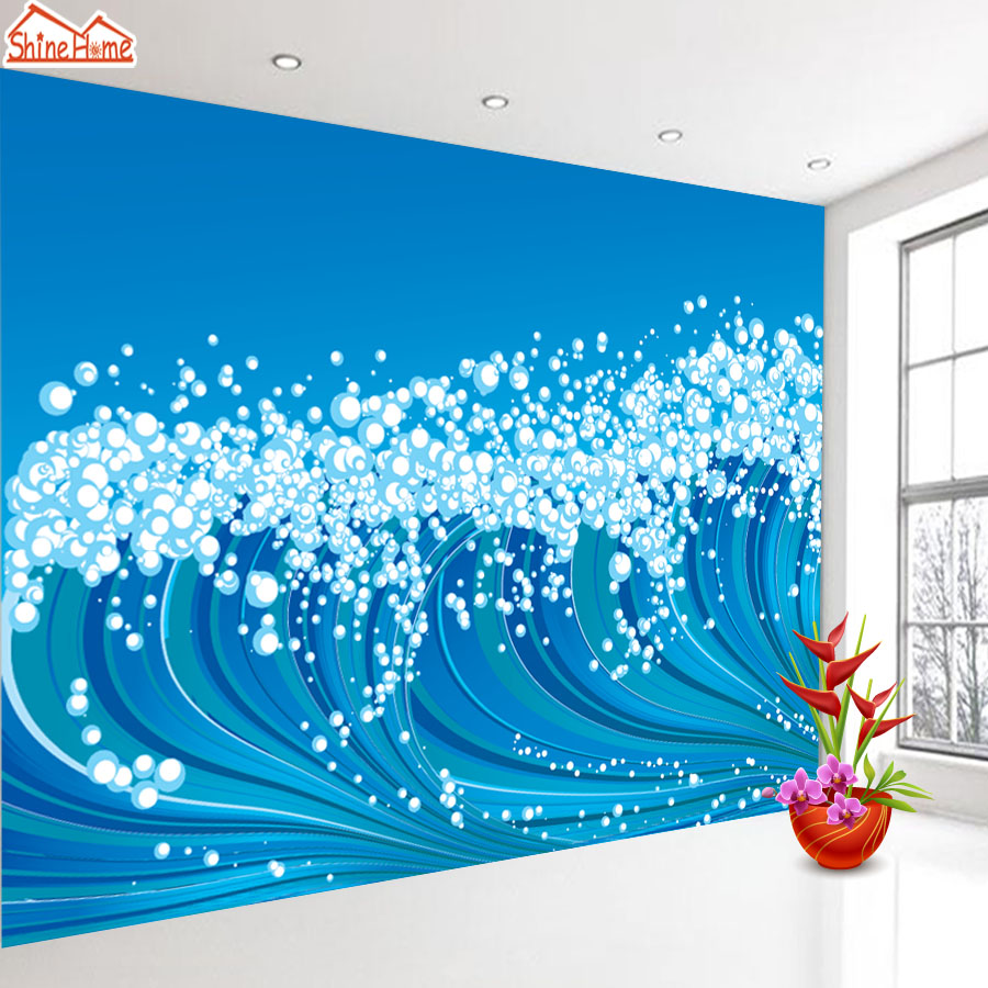ShineHome-Blue Sea  3d Wallpaper for Walls 3 d Wallpapers for Livingroom Kids 3 d Mural Roll Room Bar Background shinehome city building wallpaper black and white 3d murals for walls 3 d wallpapers for livingroom kids 3 d mural roll room