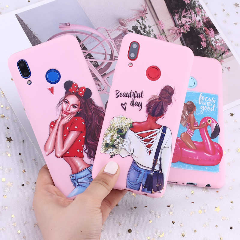 For Huawei Honor Mate 10 20 Nova P20 P30 P Smart Fashion Queen Classy Paris Girl Summer Travel Candy Silicone Phone Case