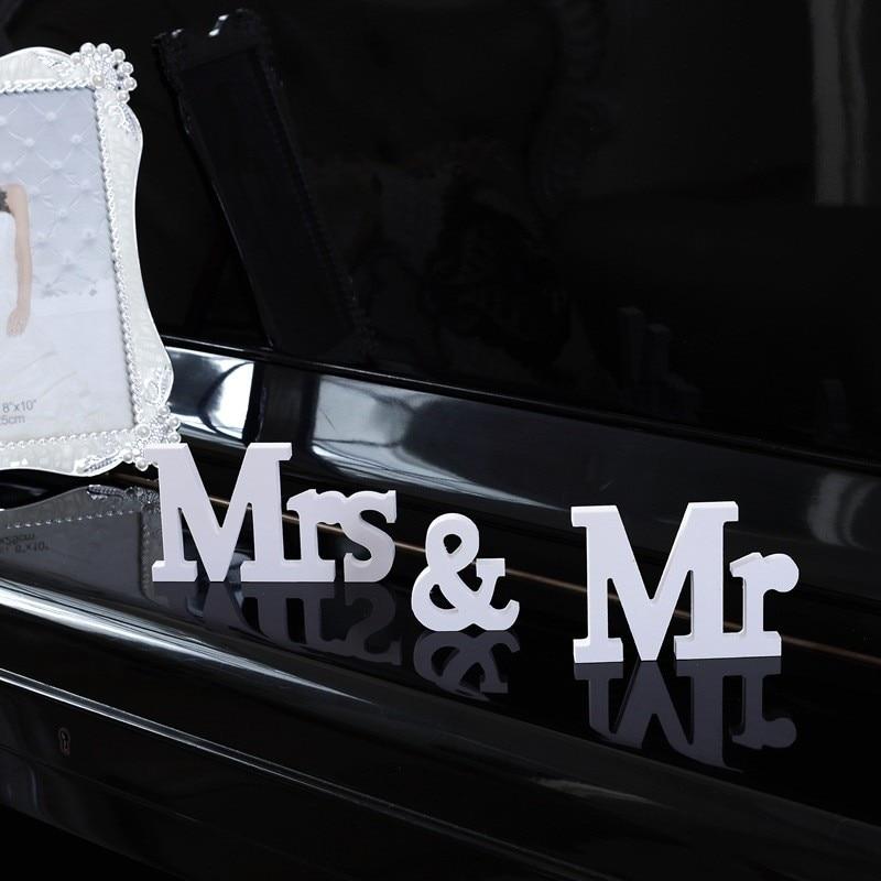 И mrs Свадебные Аксессуары Love День Святого Валентина День рождения украшения DIY белые буквы знак для романтической свадьбы