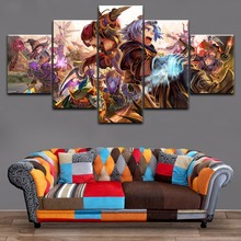 Home Decor Canvas Printed Wall Modular Picture 5 Pieces League Of Legends Game Characters Poster Painting For Living Room Art цена