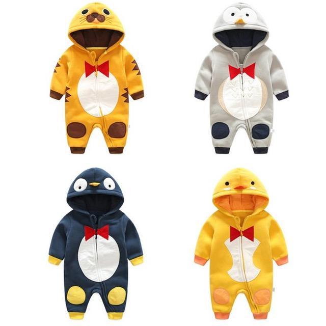e7298b20d Autumn winter Style Overalls penguin tiger pattern Cotton Newborn ...