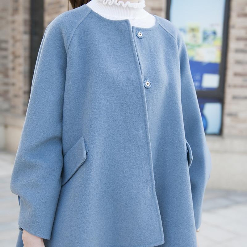Ayunsue Bufanda Abrigos Abrigo Blue Mujer Capa Moda Auutmn Negro Elegante Para light 2019 Lana De Nueva Corto Tan Con black 2029 6vxrqtw46