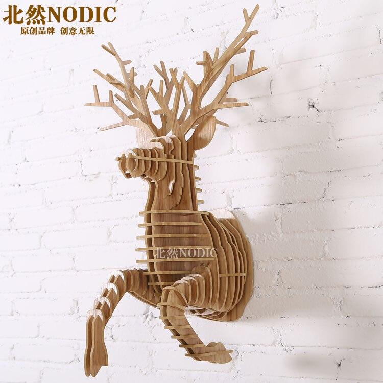 NODIC, décoration murale de cerf en cours d'exécution, décoration murale d'artisanat en bois artistique