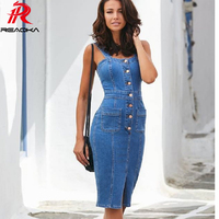 Sexy Blue Denim Party Dress Women befree Brand Slim Jeans Dresses One piece Cowboy vintage Pocket Button Bodycon dress Vestidos