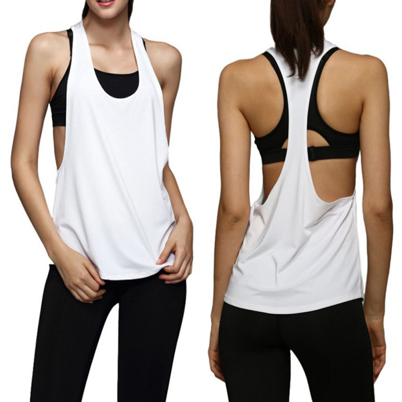 2018 Summer Female Tank T-shirt Dry Quick Top Yoga Sweater Loose Gym Fitness Sport Sleeveless Vest Singlet Running Training Top