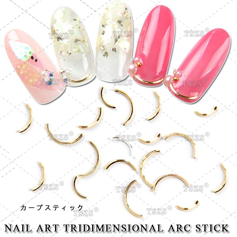 100pcs/lot Nail Accessory Metal Curved Stick Nail Art Tip Decoration Rivet Gold Silver Arc Decor