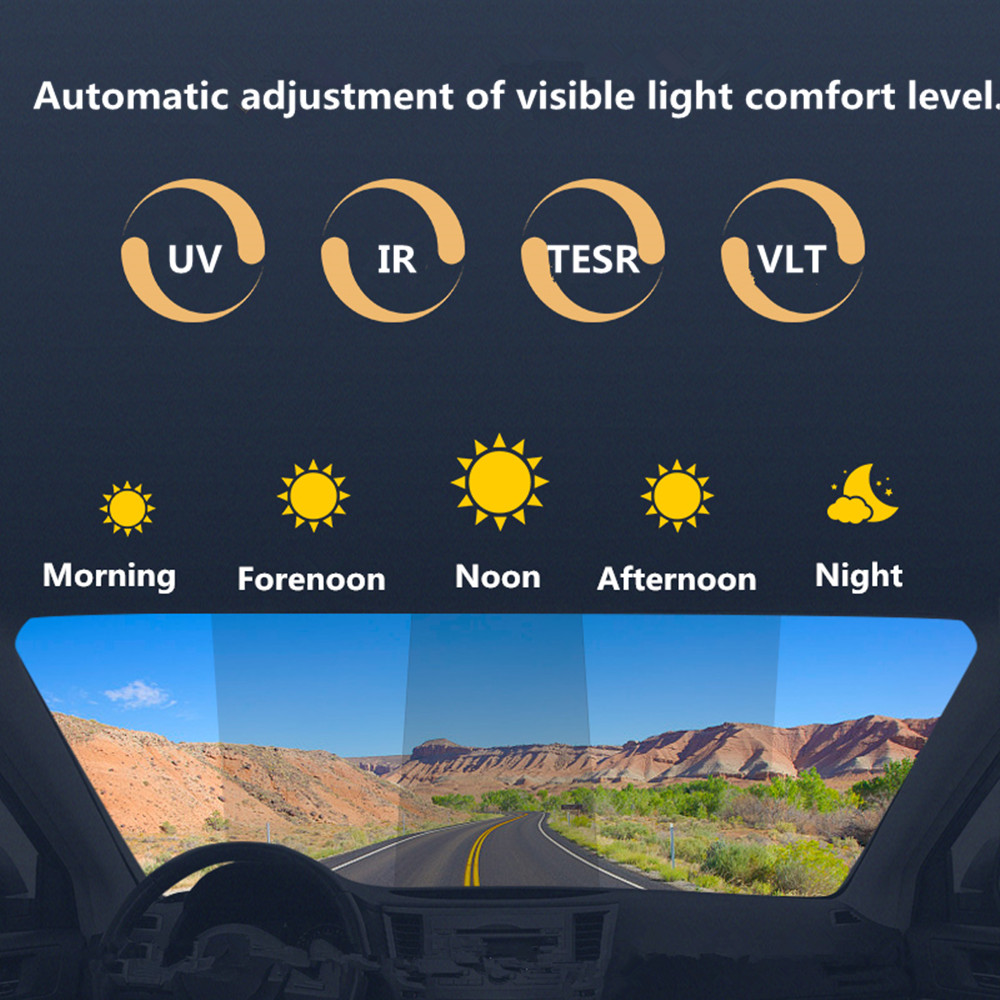 Image 4 - SUNICE Sputter Solar Tint Film Sun Control Film Heat Insulation Photochromic Film VLT Changed 73%~43% Car Building Summer Use-in Window Foils from Automobiles & Motorcycles