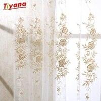 럭셔리 현대 꽃 디자인 커튼 Tulle 창 깎아 지른 커튼 거실 침실 부엌 창 심사 패널 SU364 * 40