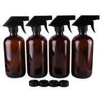 4pcs 500ml 16OZ Amber Glass Spray Stream Bottle W Black Trigger Sprayer Cap For Essential Oil