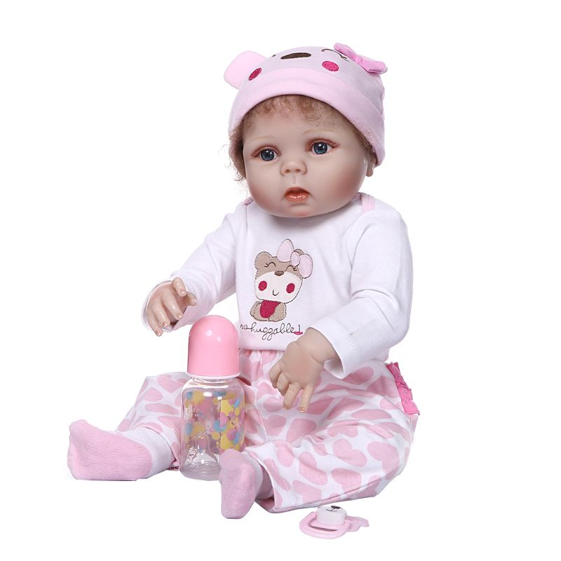 56cm Reborn Doll Realistic Full Silicone Vinyl Newborn Baby Toy Girl Princess Clothes Pacifier Lifelike Handmade Birthday Gift-in Dolls from Toys & Hobbies    2