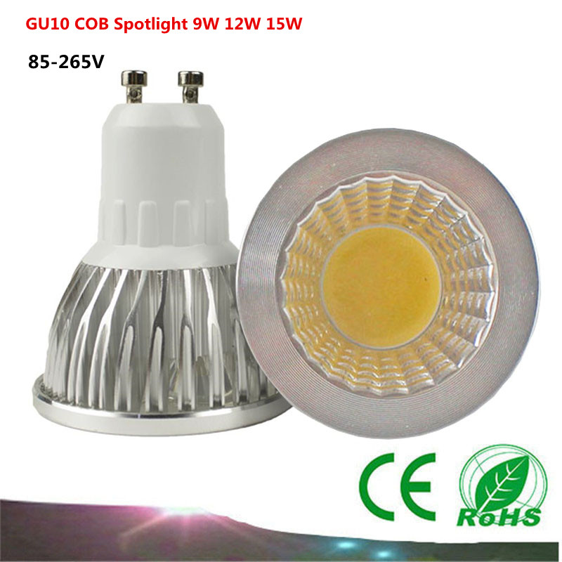 1PCS GU10 COB  LED Bulb  Spot Light  AC85-265V /110V/220V   9W 12W 15W COB  LED Light  White/Warm White led lamp 680lm mr16 7w cob warm white led spot bulb energy saving light 85 265v