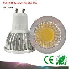 1PCS GU10 COB  LED Bulb  Spot Light  AC85-265V /110V/220V   9W 12W 15W COB  LED Light  White/Warm White led lamp