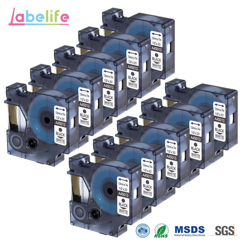 Labelife 10 Pack 45013 Replacement DYMO D1 S0720530 Tape Cassette 12mm Compatible for Dymo LabelManager Printer