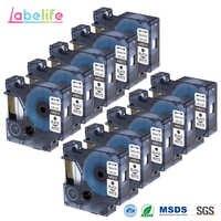 Labelife 10 Pack 45013 Ersatz DYMO D1 S0720530 Band Kassette 12mm Kompatibel für Dymo LabelManager Drucker, schwarz auf Weiß