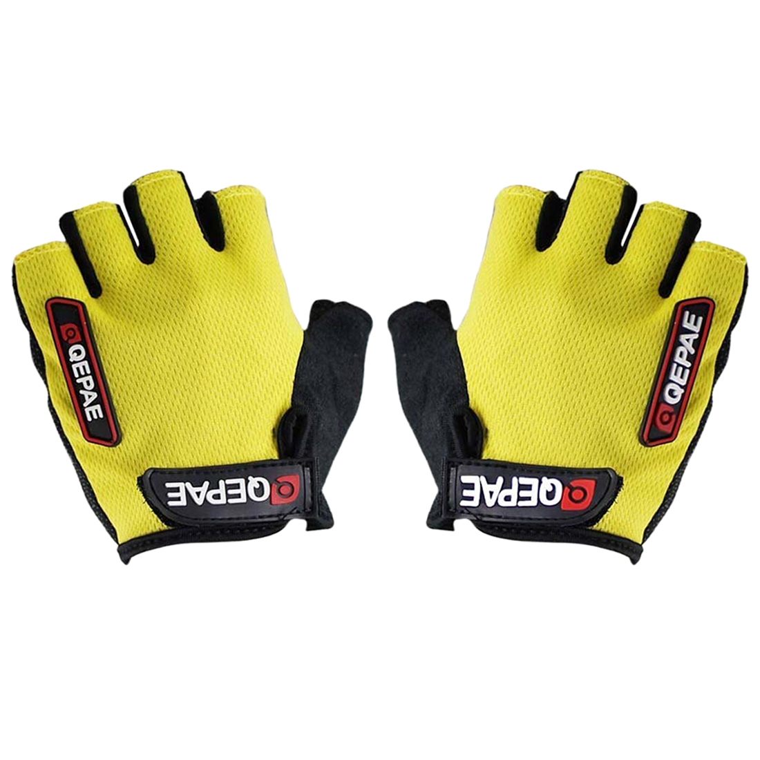 Running Gloves Qepae NEW Cycling Bicycle Half Finger Silicone Glove (Yellow + Black, S M L XXL) qepae 043a outdoor cycling half finger gloves black red l pair