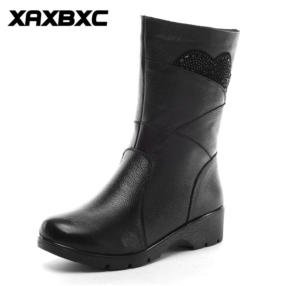 XAXBXC 2017 Winter Ladies Shoes Genuine Leather Zipper String Beads Warm Fur Lining Non-Slip Flat Midi Short Women Snow Boots winter wimmelbuch midi ausgabe