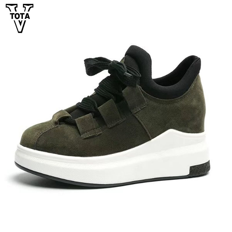 VTOTA Spring Autumn Women Shoes Fashion Pumps Women Wedges Platform Shoes Woman Sneakers Thick Heel Casual High Heels QYXC4 xiaying smile woman pumps shoes women spring autumn wedges heels british style classics round toe lace up thick sole women shoes