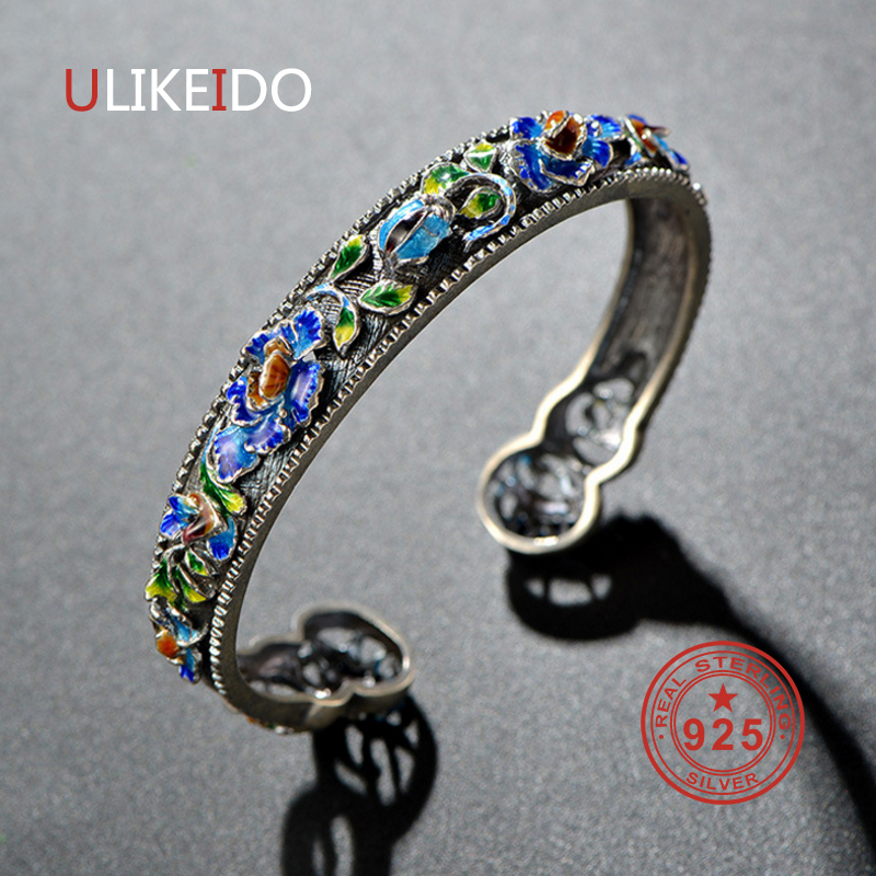 925 Sterling Silver Bracelets Ethnic Hand Chain For Women Special Jewelry Charm Bracelets P2006 ethnic wind bracelets men and women decorations green agate 925 silver ball duobao string original jewelry